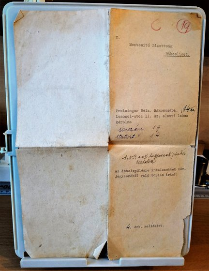 A cáfolati dokumentum eredeti borítékja