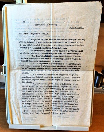 A fellebbezési dokumentum eredeti, első példánya