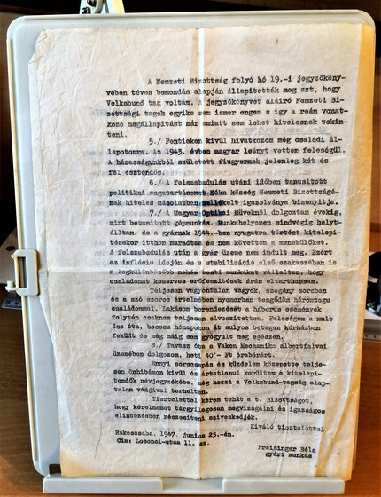 A fellebbezési dokumentum eredeti, második példánya