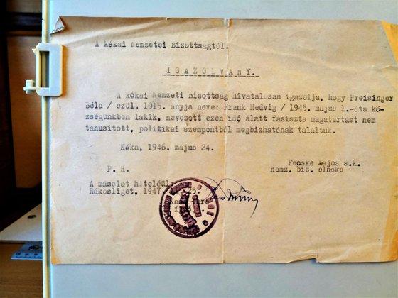 A kókai nemzeti bizottság eredeti igazolása