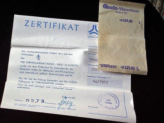 Egy eredeti Quelle számla és certifikát